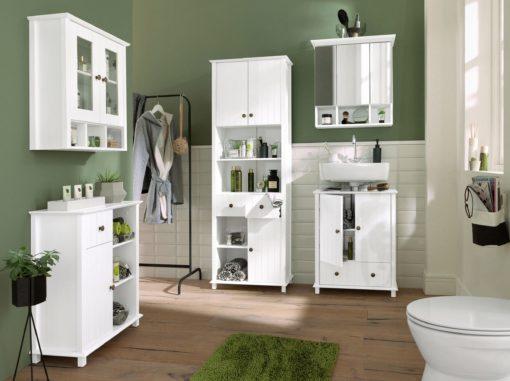 Trzydrzwiowa szafka łazienkowa z lustrem, sosnowa