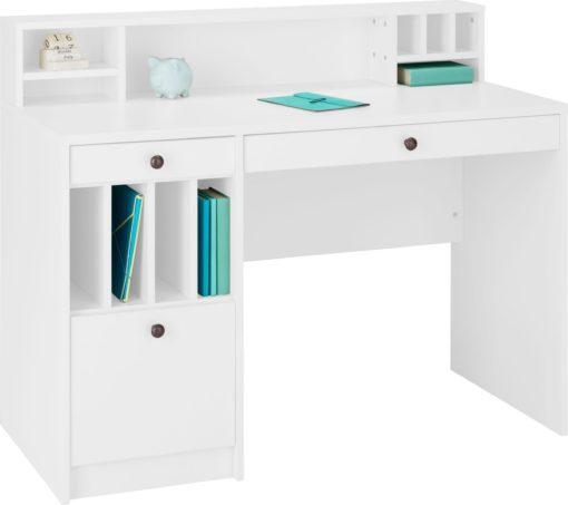 Białe biurko z praktycznymi przegrodami do przechowywania