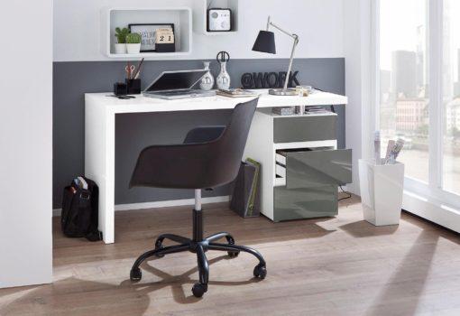 Biurko biało-antracytowe w nowoczesnym stylu, 140 cm