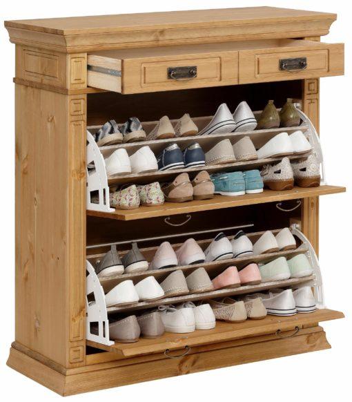 Bogato zdobiona, drewniana komoda na buty, olejowana