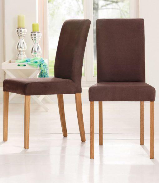 Proste krzesła do jadalni, brązowe, nogi dębowe
