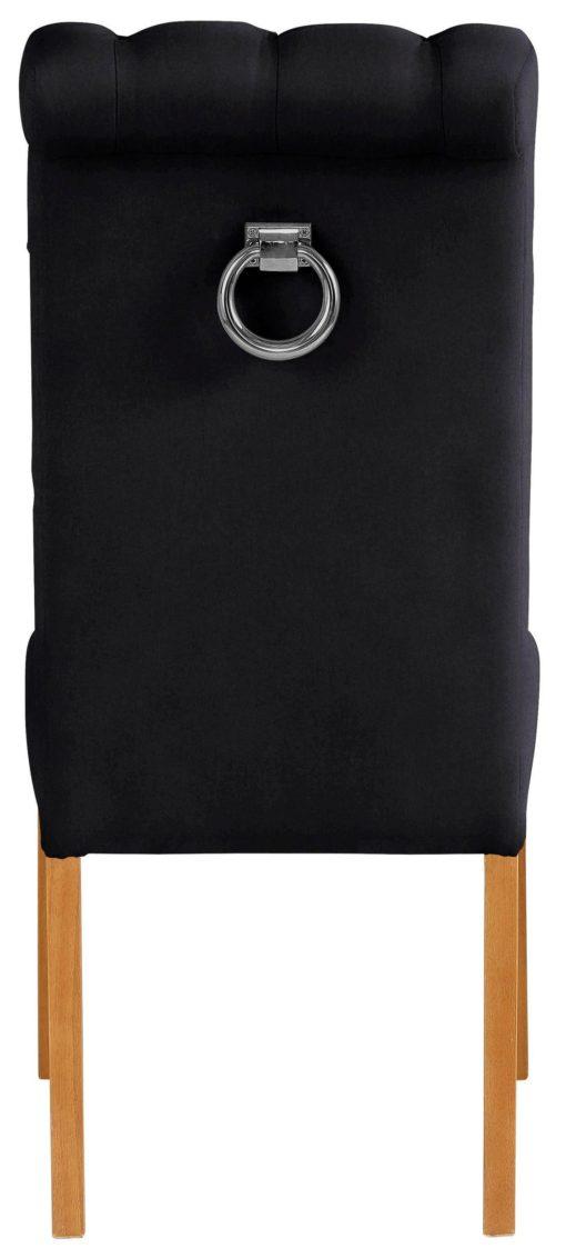 Eleganckie, czarne krzesła z pikowaniem i kołatką z tyłu, aksamit