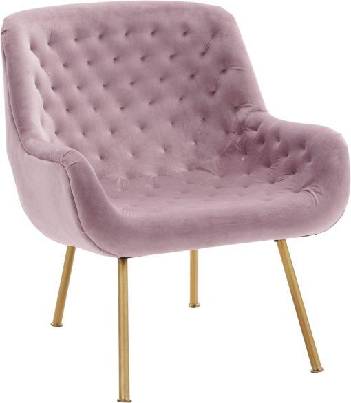 Ekskluzywny, tapicerowany fotel ze złotymi nogami, pudrowy