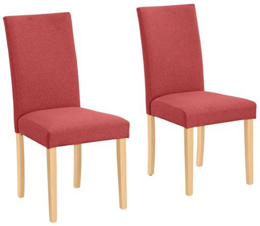 Proste krzesła do jadalni, czerwone, nogi bukowe - 4 sztuki