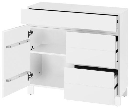 Biała komoda bez uchwytów, nowoczesny design