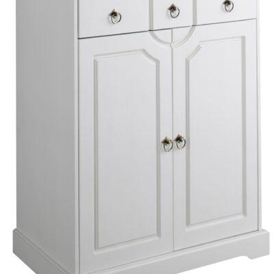 Biała, sosnowa komoda w rustykalnym stylu