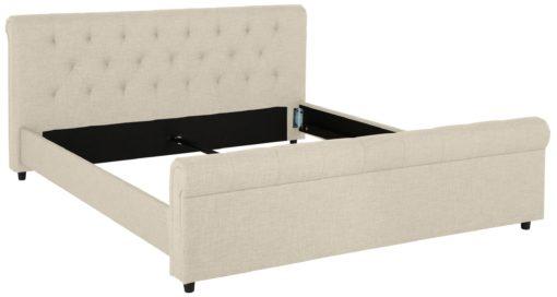 Atrakcyjne tapicerowane łóżko ze stylowym wezgłowiem, kremowe
