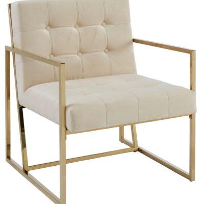 Ekskluzywny, pikowany fotel ze złotą ramą, kremowy