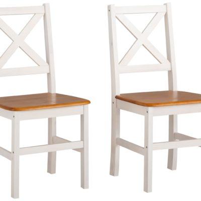 Zestaw dwóch sosnowych krzeseł, biało-miodowych