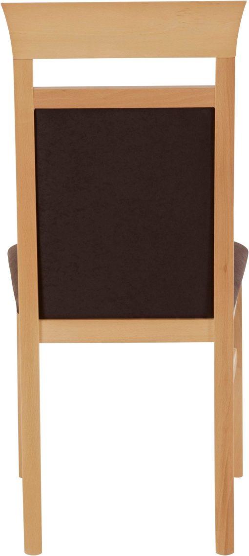 Klasyczne bukowe krzesła z brązową tapicerką - 2 sztuki