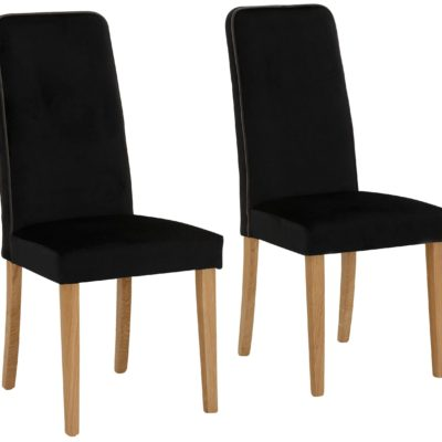 Eleganckie, czarne krzesła, nogi dębowe - 2 sztuki