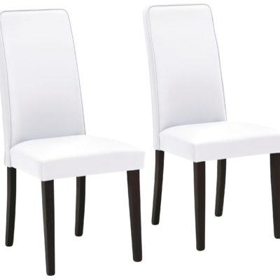 Stylowe białe krzesła z ciemnymi nogami - 2 sztuki