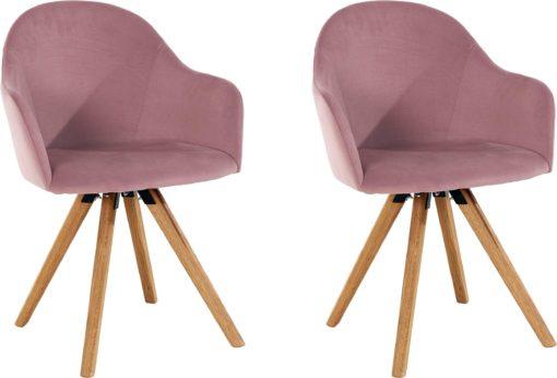 Wygodne krzesła w kształcie foteli, dębowe nogi - 2 sztuki