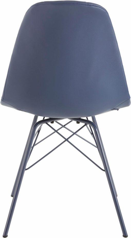Nowoczesne krzesła sztuczna skóra i metal, niebieskie - 2sztuki