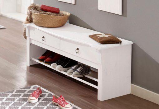 Urocza, sosnowa ławka z miejscem na buty, biała
