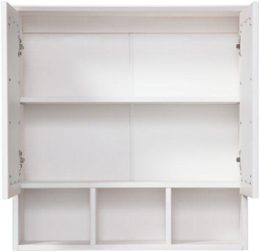Drewniana szafka łazienkowa z lustrem, biała