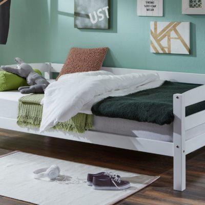 Pojedyncze łóżko z litego buku 120x200 cm, białe