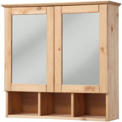 Drewniana szafka łazeinkowa z lustrem, olejowana