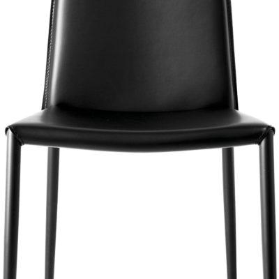 Modernistyczne, czarne krzesła z regenerowanej skóry - 2 sztuki