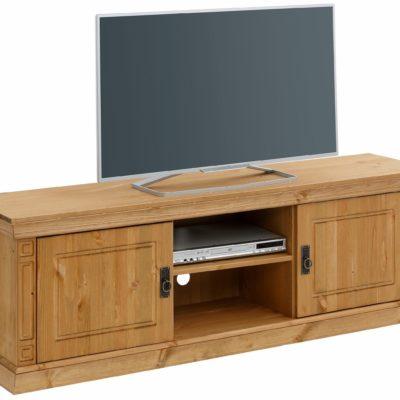 Sosnowa szafka pod telewizor z pięknymi zdobieniami