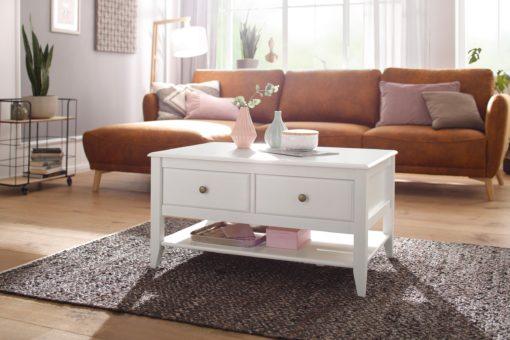 Elegancki, sosnowy stolik kawowy z szufladami, biały