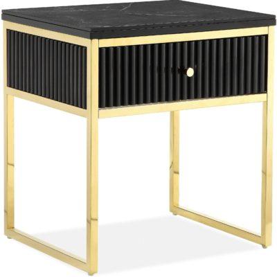 Czarny stolik z szufladką w stylu glamour, złota rama i nogi