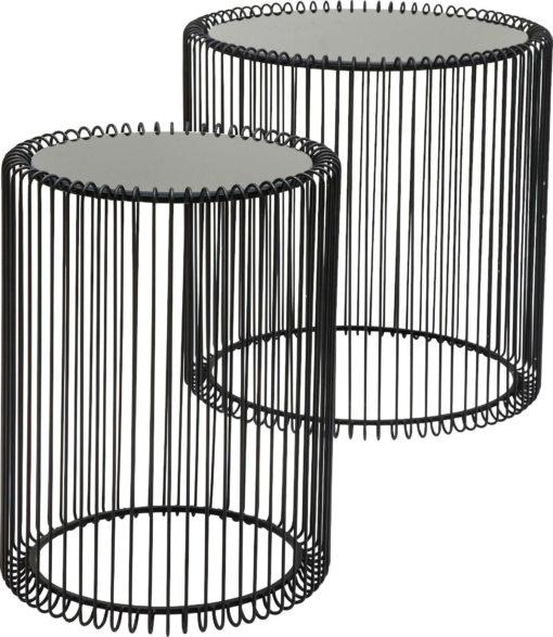 Nowoczesny zestaw dwóch czarnych stolików z metalu