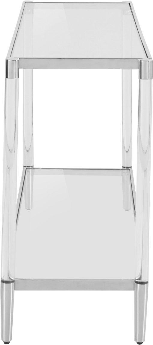 Modernistyczny stolik ze srebrną ramą i szklanym blatem