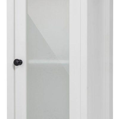 Sosnowa szafka biała z przeszklonymi drzwiami