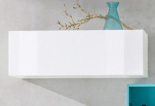 Nowoczesna szafka ścienna z klapą, biała wysoki połysk