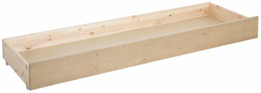 Sosnowa szuflada pod łóżko na kółkach, ciemno-miodowa
