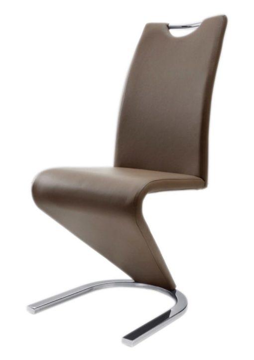 Nowoczesne krzesła ze sztucznej skóry - 2 sztuki, cappuccino