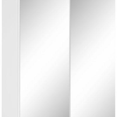 Biała szafka łazienkowa z lustrem na froncie