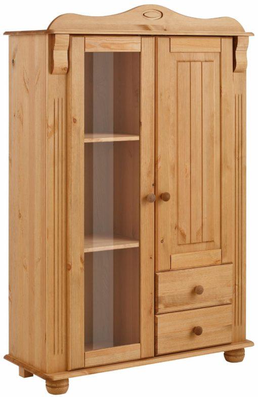 Przepiękna sosnowa witryna z przeszklonymi drzwiami