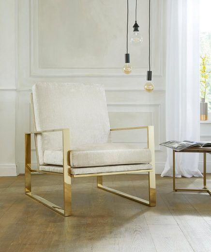 Modernistyczny fotel ze złotą ramą, kremowy
