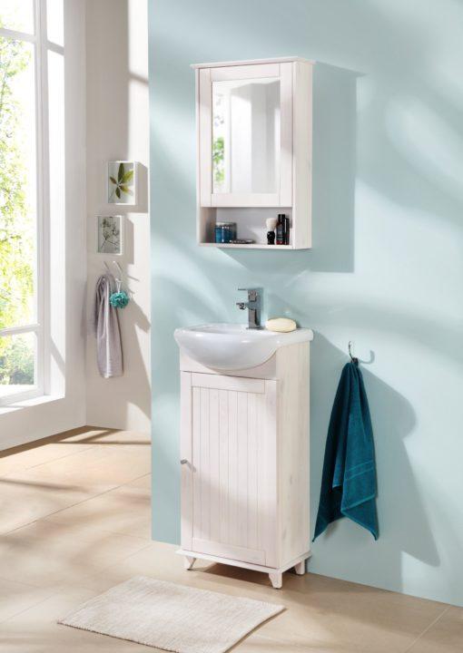 Sosnowa szafka pod umywalkę z umywalką, prowansalska