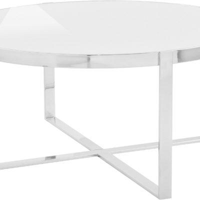 Nowoczesny stolik z chromowaną ramą i białym blatem