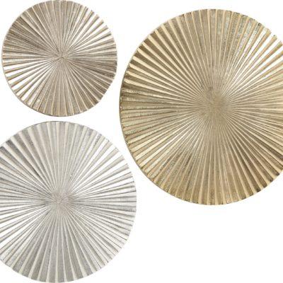 Złota, 3-częściowa dekoracja ścienna