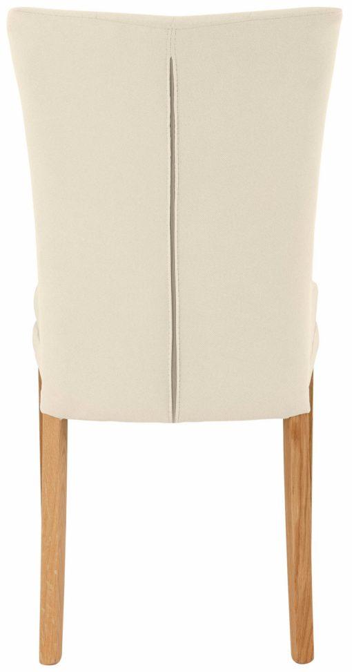 Eleganckie, beżowe krzesła tapicerowane, nogi dębowe