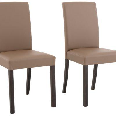 Klasyczne krzesła ze sztucznej skóry, szaro-brązowe - 6 sztuk