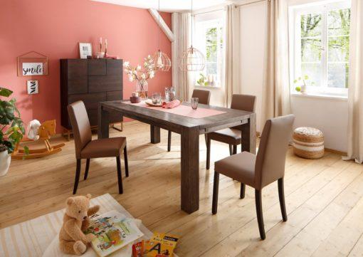 Klasyczne krzesła ze sztucznej skóry, szaro-brązowe - 2 sztuki