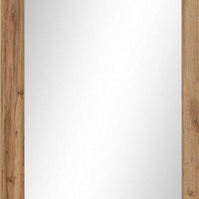 Prostokątne lustro ścienne z ramą w kolorze drewna dębowego