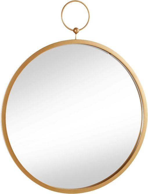 Okrągłe lustro do zawieszenia, w złotej ramie