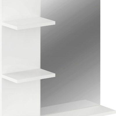 Lustro łazienkowe z półkami i wieszakiem, białe