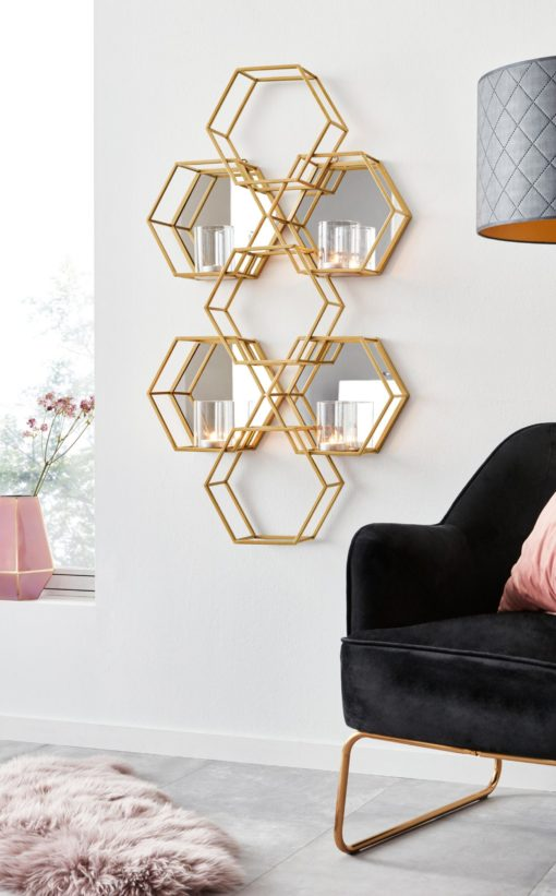 Złoty świecznik na ścianę w formie heksagonu