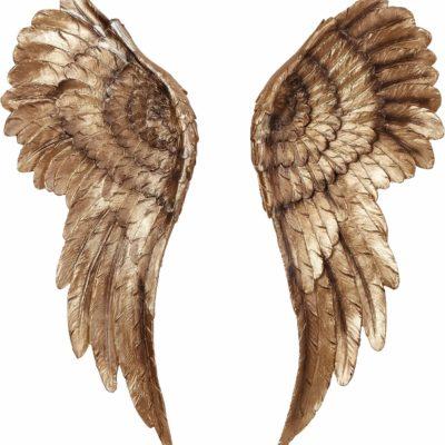 Szlachetna dekoracja ścienna, złote anielskie skrzydła