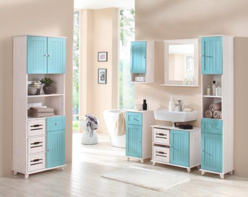 Sosnowa szafka łazienkowa w stylu landhaus