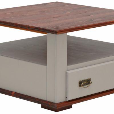 Elegancki sosnowy stolik kawowy, szaro-wiśniowy