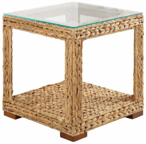 Ażurowy stolik z plecionego hiacyntu wodnego ze szklanym blatem
