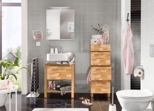 Nowoczesna szafka pod umywalkę z frontem z drewna dębowego